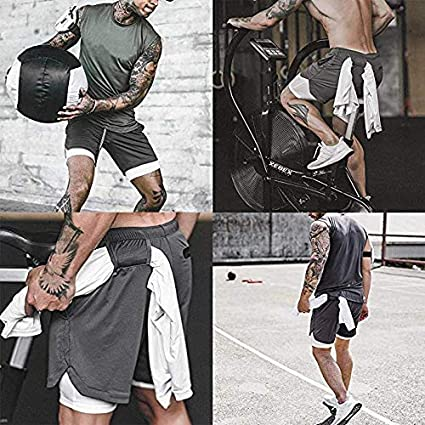 Mens Compression 2-in-1 Running Shorts Mesh with Towel Loop Workout Sports Gym