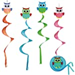 WIND CHIME OWL SWIRLING COLOURFUL FOL...