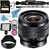 Sony E 10-18mm f/4 OSS Lens SEL1018 + 62mm 3 Piece Filter Kit + Professional 160 LED Video Light Studio Series + 64GB SDXC Card + Lens Pen Cleaner + 70in Monopod + Deluxe Cleaning Kit Bundle