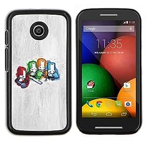 Qstar Arte & diseño plástico duro Fundas Cover Cubre Hard Case Cover para Motorola Moto E (Caballeros Diminuto)