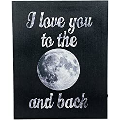 Love to Moon and Back LED Light-up 18 x 15 inch Canvas Wall Plaque Decoration