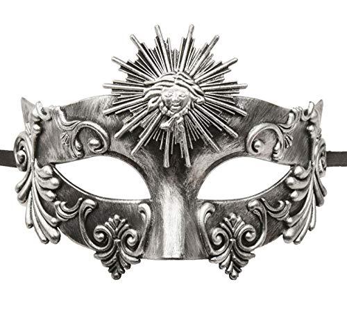 KEFAN Greek Roman Masquerade Mask Halloween Mask Venetian Mardi Gras Mask for Men (Antique Silver)