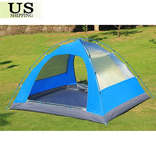 3-4 Person Double Layer Waterproof 4 Season Family Camping Hiking Tent Aluminum by Unknown