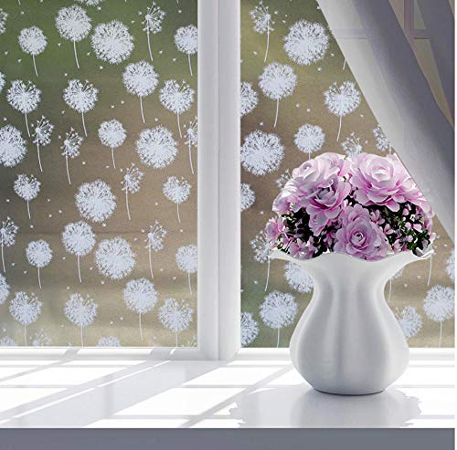 Fifikoj Bathroom Glass Dandelion Wall Sticker Shading Window Film Self-Adhesive Frosted Transparent Opaque Wallpaper PVC DIY Art Mural