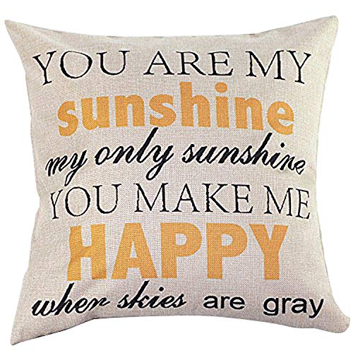 NEW BARLEY Letter Design Throw Pillow Cover Pillow Case 18 x 18 Inch Cotton Linen for Sofa (You are My (Design Pillow Cover)