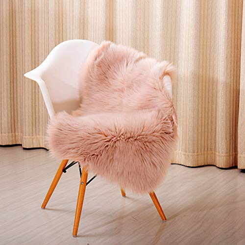 Reafort High Pile Super Soft Faux Sheepskin Rug, Chair Cover, Sofa Cover 20inx36in (20x 36, Pink)