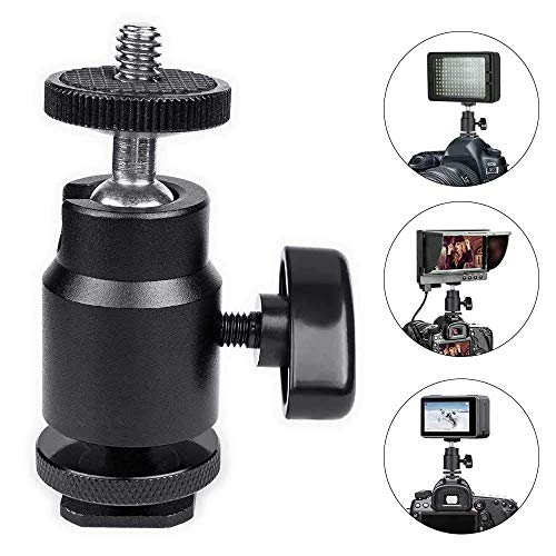 Hot Shoe Mounting Adapter 1/4 Threaded Mini Ball Ring Standard Shoe Mount Adapter for Cameras/Smartphones/Microphones/Gopro/Canon/LED Video/Tripod Monopod