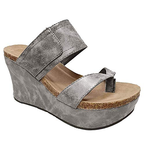 Bbalizko Womens Summer Sandal Wedges Boho Flip Flops Platform Shoes Slippers Silver