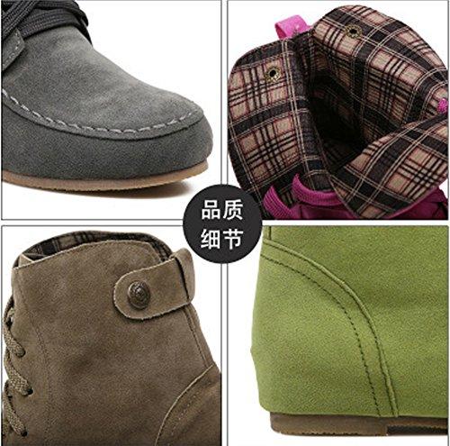 Zapatos Invierno Planos Marr o Minetom Botas Botas para Mujer Lazada Nieve Oto Chic Calentar Martin de Botines SqwCpO