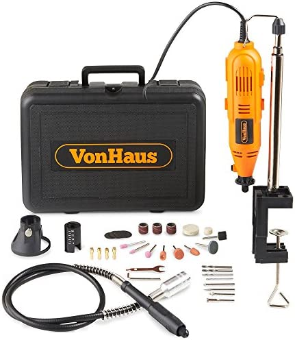 VonHaus Variable Speed Rotary Tool Set with Flex Shaft, Stand and Storage Case Including 34 Piece Multi-functional Accessories Tool Bits Set For Cutting, Sanding and Polishing