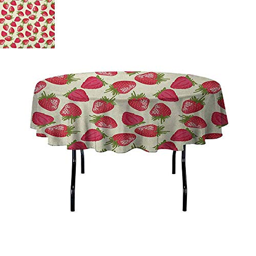 Douglas Hill Fruits Waterproof Anti-Wrinkle no Pollution Strawberries Vivid Growth Plant Vitamin Organic Diet Refreshing Image Table Cloth D67 Inch Eggshell Red Olive Green