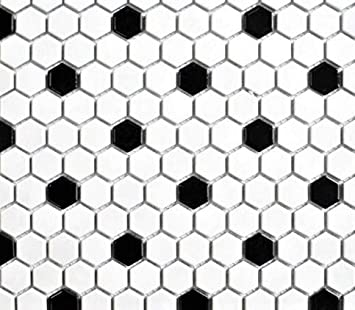 Squarefeet Depot Retro Hexagon Shiny Porcelain Mosaic Floor and Wall Tile 10.25 x 11.75 White and Black Mixed