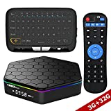 WISEWO Android TV Player Set Top Box HD Video Media Player Octa Core CPU 3GB/32GB Smart Box Mini PC Support 4K2K 3D BT 4.0 Dual Band Wifi with Wireless Touchpad Mini Keyboard