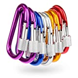 Carabiner Clip Set - 10 Multicolor Pack of 3 Inch Locking D Ring Shape Clips That Attach Your Items to Loops or Straps for Hands-Free Adventuring – Best for Outdoor Camping, Fishing, Hiking