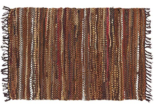 "HF by LT Tucson Leather Rug, 27"" x 45"", Handwoven Recycled Leather, Durable and Soft, Brown"
