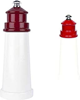 product image for Fletchers' Mill Lighthouse Salt & Pepper Mill, White/Red - 6 Inch