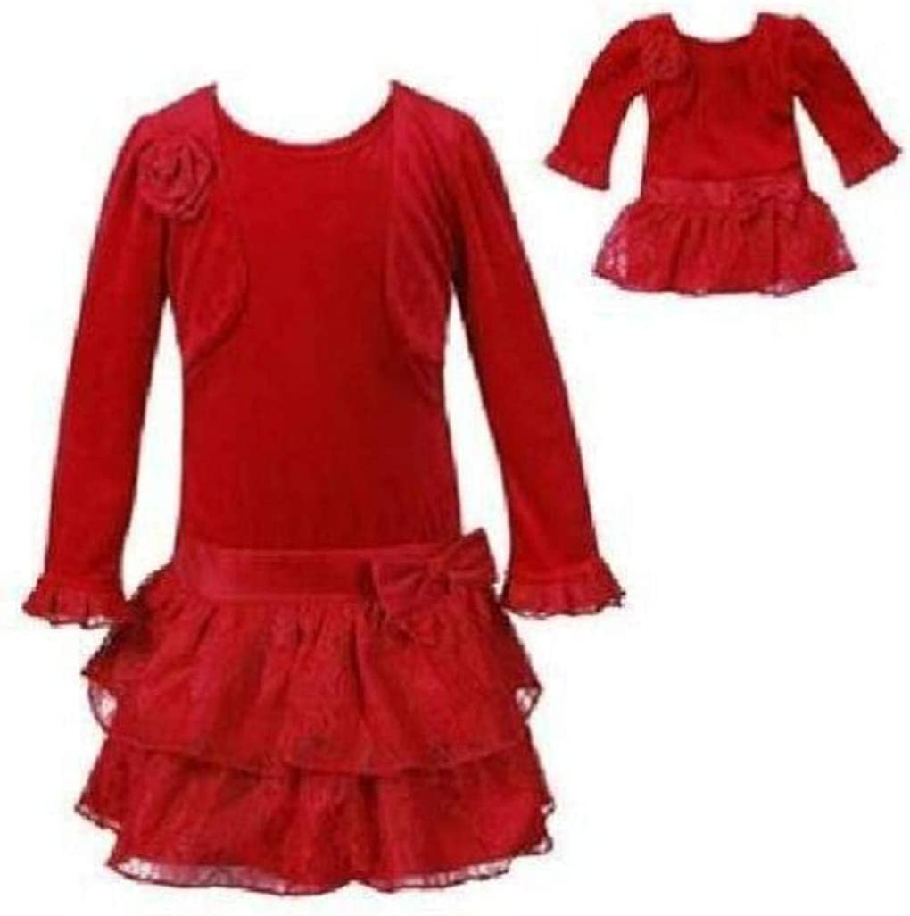 Girls Dollie /& Me Size 6 /& 4 Floral Ruffled Bottom Long Sleeved Dress