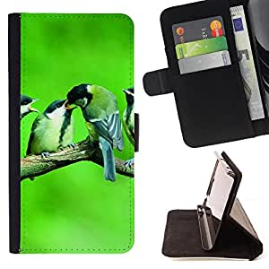 DEVIL CASE - FOR HTC DESIRE 816 - Cute Birds Baby Nature Spring Green - Style PU Leather Case Wallet Flip Stand Flap Closure Cover