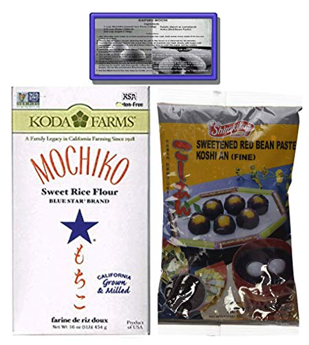 (Sweet Rice Flour and Koshi an (Fine Sweeted Red Bean Paste) 2 Items, great for making Mochi Cakes, Bars and Sweets (Rice Flour and Beans, 2))