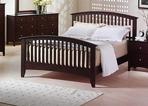Finish Merlot Mirror Dresser (Esofastore Queen Size Bed Merlot Finish Transitional Framed HB FB Bedroom Furniture 1pc Bedframe)