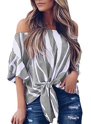 Asvivid Womens Summer Striped Off Shoulder Bell Sleeve Loose Office Tshirt Tops Plus Size X-Large Grey (Best Friend Couple Shirt Design)