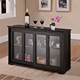 corner kitchen cabinet with glass doors Costzon Kitchen Storage Sideboard, Antique Stackable Cabinet for Home Cupboard Buffet Dining Room (Black Sideboard With Sliding Door Window)