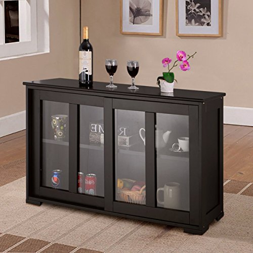 Costzon Kitchen Storage Sideboard, Antique Stackable Cabinet for Home Cupboard Buffet Dining Room (Black Sideboard With Sliding Door (Large Sideboard)