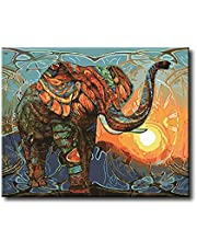 Shukqueen DIY Oil Painting, Adult's Paint by Number Kits, Acrylic Painting-Colorful Elephant 16X20 Inch