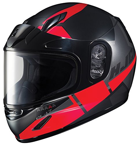 (HJC Helmets Unisex-Child Full-face Style CL-Y Boost Youth Snow Helmet with Dual Lens Shield Black/Red Medium)