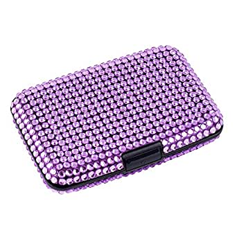 RFID Anti-Theft Bling Credit Card/Business Card Caddy Holder (Purple)