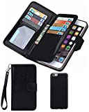 Black Friday Clearance Sale Day 2016 For iPhone 6/6s Wallet Case,Valentoria Leather Wallet Case Magnetic Detachable Slim Back Cover Card Holder Slot Wrist Strap Case (iPhone 6/6s, Black)