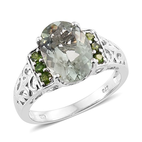 Green Amethyst, Diopside Platinum Plated Silver Ring 4.67 cttw. Size 5 Green Amethyst Platinum Ring