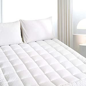 """Queen PillowTop Mattress Topper Pad Cover,Cooling Mattress topper Cover, Soft Thick Mattress Topper Protector, Cotton Mattress Pad up to 20"""" Deep Pocket(Home, Hotel)-Breathable 500gsm Down Alternative"""