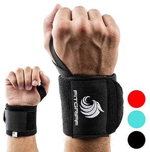 Handgelenkbandage (1Paar) von Fitgriff - für Fitness, Kraftsport, Bodybuilding, & Crossfit Training - für Damen und Herren - 2 Jahre Garantie