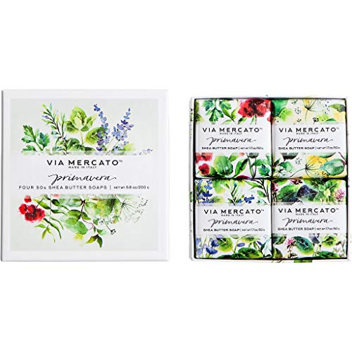 European Soaps Via Mercato Primavera Gift Set Fresh Herbs 4 by 50 Grams Soap