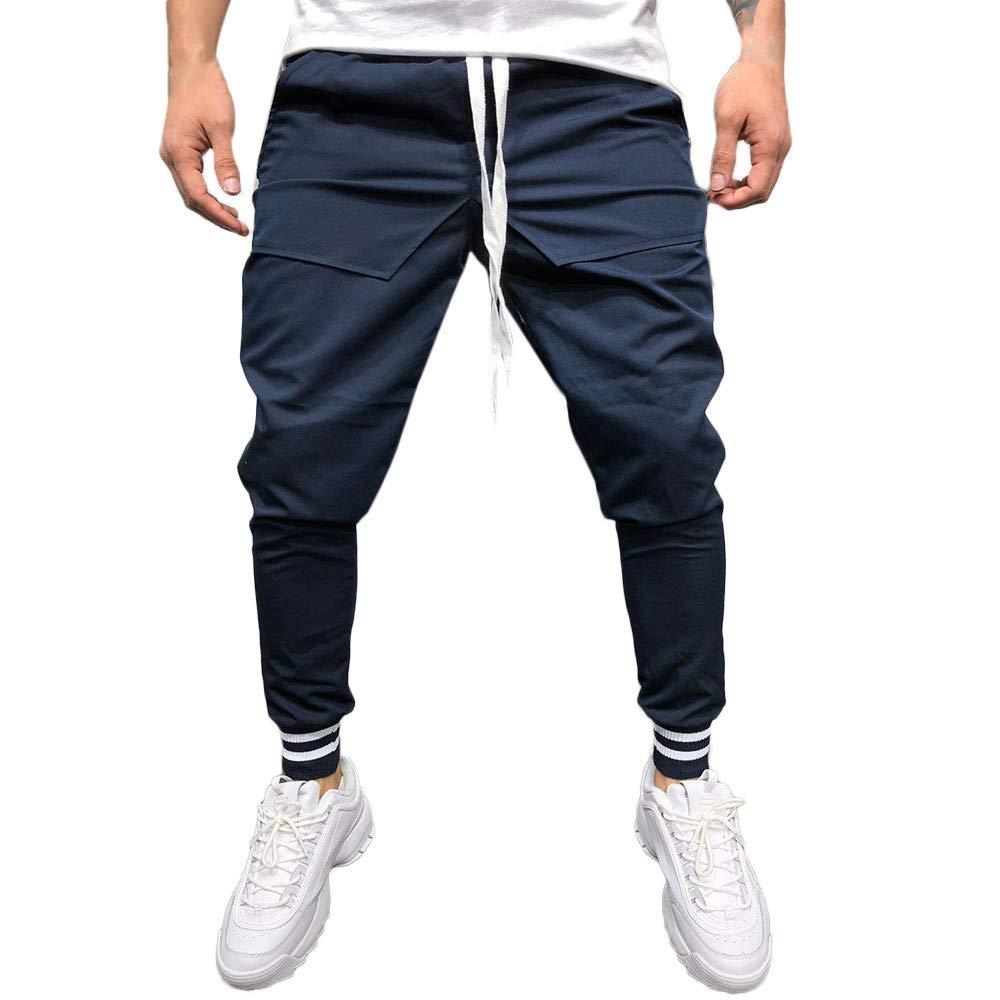 Colmkley Mens Hip Hop Sweatpants Fashion Sport Drawstring Casual Beam Foot Pants