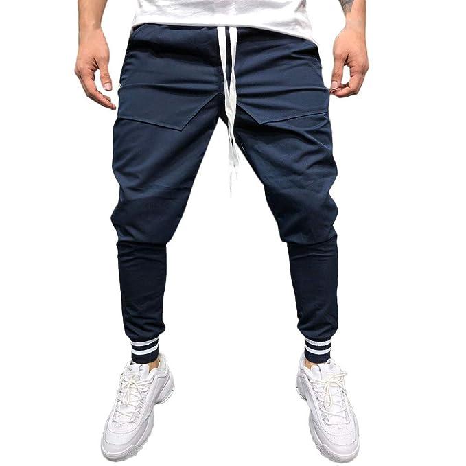 Hombre Pantalones Chandal Anchos Moda Hombre Casual Solid Suelto Patchwork  Bolsillo Sweatpant Pantalones Jogger Pant  Amazon.es  Ropa y accesorios f7046a95c9a