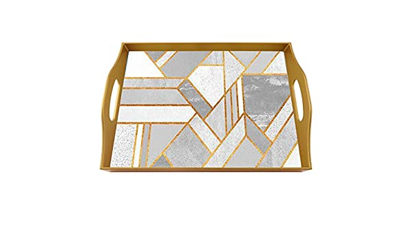 Rectangular Hand Painted Glass Tray with Gold Aluminium Frame Art Deco VIntage Design Coffee table tray