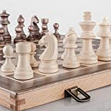 A&A 15' Wooden Chess Set - 3' King Height German Knight Staunton Wooden Chessmen / Wooden Chess Pieces - Classic Board Game
