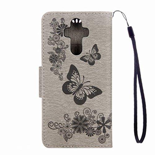 Yiizy Huawei Mate 9 Custodia Cover, Farfalla Fiore Design Sottile Flip Portafoglio PU Pelle Cuoio Copertura Shell Case Slot Schede Cavalletto Stile Libro Bumper Protettivo Borsa (Grigio)