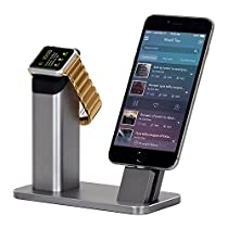 Apple Watch Stand, WOWO Aluminum iPhone Charging Station, iPhone Desk Docking Station Cradle Holder Support Night Stand Mode for iWatch Series 3 2 1 38 mm 42 mm and iPhone X 8 Plus 7 6S SE 6 5S 5C 4S
