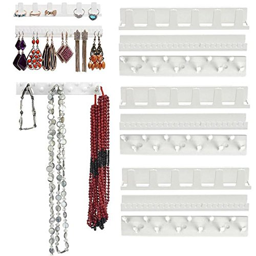 Wall Mount - Earring Necklace Hanger Organizer Adhesive Jewelry Holder Packaging Display Rack Sticky Hooks Wall - Station Organizers Business Input Barcode 8.5 Racks Sink Rifle Pad