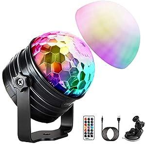 51vN4QHempL. SS300  - LED Discokugel Kinder OMERIL Discolicht Musikgesteuert Disco Lichteffekte RGB Partylicht, Zeitgesteuertes USB Stimmungslicht mit 7 Farben, 4 Helligkeiten und Fernbedienung für Kinder, Zimmer, Party
