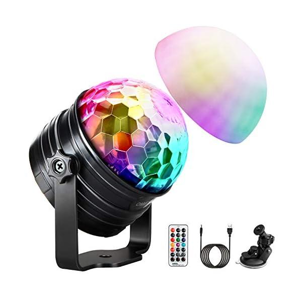 51vN4QHempL. SS600 - LED Discokugel Kinder OMERIL Discolicht Musikgesteuert Disco Lichteffekte RGB Partylicht, Zeitgesteuertes USB Stimmungslicht mit 7 Farben, 4 Helligkeiten und Fernbedienung für Kinder, Zimmer, Party