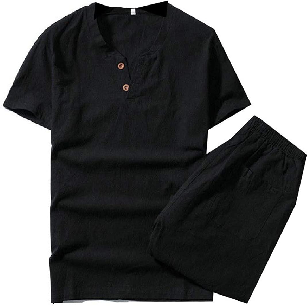 Sayah Mens Button-Front Casual 2-Pieces Short-Sleeve Linen T-Shirts and Shorts Set