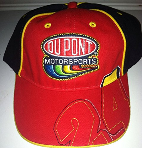 Jeff-Gordon-24-Chase-Authentics-Red-Blue-Accents-Dupont-Motorsports-Large-24-On-Bill-Hat-Cap-One-Size-Fits-Most-OSFM-Adjustable-Velcro-Strap