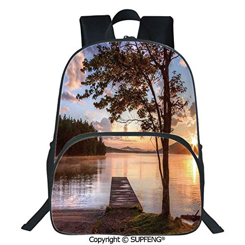 - SCOXIXI Laptop Backpack Shore of Seventh Lake Tree Sunbeam at Sunset Water Reflection Tranquility (15.75