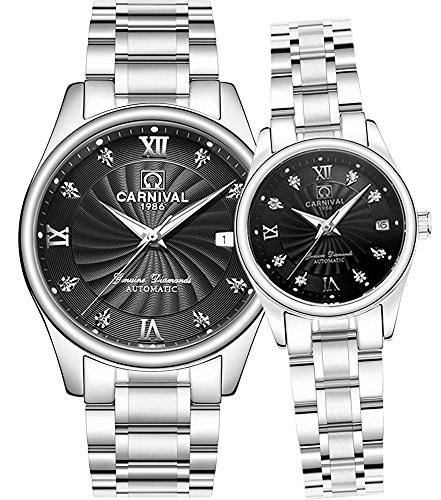 Men and Women Couples Automatic Mechanical Gold & Silver Stainless Steel Watches Gift Set Sapphire Watch (Black) by MASTOP