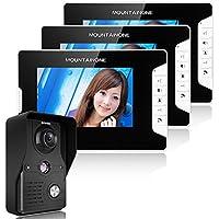 MOUNTAINONE 7 Inch Video Door Phone Doorbell Intercom Kit 1-camera 3-monitor Night Vision SY813MK13