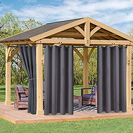 Floweroom Indoor Outdoor Curtains For Patio Pergola And Cabana Dark Grey 52 X 120 Inch Sun Light Blocking Waterproof Grommet Thermal Blackout Curtains For Bedroom Living Room Set Of 2 Panels Amazon Co Uk Kitchen